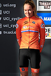 Anna Van Der Breggan (NED) crosses the finish line in 2nd place at the end of the Women Elite Road Race of the UCI World Championships 2019 running 149.4km from Bradford to Harrogate, England. 28th September 2019.<br /> Picture: Eoin Clarke | Cyclefile<br /> <br /> All photos usage must carry mandatory copyright credit (© Cyclefile | Eoin Clarke)