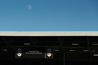 30th July 2020; Craven Cottage, London, England; English Championship Football Playoff Semi Final Second Leg, Fulham versus Cardiff City; The moon is seen over the Fulham score board