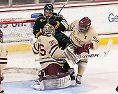 Parker Milner (BC - 35), Jacob Fallon (UVM - 17), Patrick Wey (BC - 6) - The Boston College Eagles defeated the visiting University of Vermont Catamounts to sweep their quarterfinal matchup on Saturday, March 16, 2013, at Kelley Rink in Conte Forum in Chestnut Hill, Massachusetts.