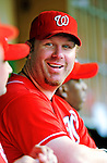 28 August 2010: Washington Nationals first baseman Adam Dunn sits in the dugout prior to a game against the St. Louis Cardinals at Nationals Park in Washington, DC. The Nationals defeated the Cards 14-5 to take the third game of their 4-game series. Mandatory Credit: Ed Wolfstein Photo