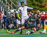 3 October 2015: Binghamton University Bearcat Midfielder Kevin Flesch, a Freshman from Munich, Germany, takes a tumble to save a shot on goal by University of Vermont Catamount Forward Brian Wright, a Junior from Ajax, Ontario, during game action at Virtue Field in Burlington, Vermont. The Bearcats held on to defeat the Catamounts 2-1 in America East conference play. Mandatory Credit: Ed Wolfstein Photo *** RAW (NEF) Image File Available ***
