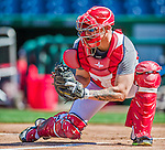22 August 2015: Washington Nationals catcher Jose Lobaton works on defensive drills prior to a game against the Milwaukee Brewers at Nationals Park in Washington, DC. The Nationals defeated the Brewers 6-1 in the second game of their 3-game weekend series. Mandatory Credit: Ed Wolfstein Photo *** RAW (NEF) Image File Available ***