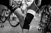 Bauke Mollema (NLD/Trek Factory Racing) & Laurens ten Dam (NLD/LottoNL-Jumbo) crosslegged at the start<br /> <br /> 79th Flèche Wallonne 2015