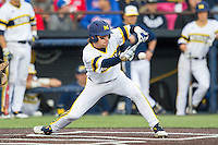 Michigan Wolverines shortstop Michael Brdar (9) lays down a bunt against the Eastern Michigan Hurons on May 3, 2016 at Ray Fisher Stadium in Ann Arbor, Michigan. Michigan defeated Eastern Michigan 12-4. (Andrew Woolley/Four Seam Images)