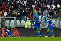 1st December 2019; Allianz Stadium, Turin, Italy; Serie A Football, Juventus versus Sassuolo; Jeremie Boga of Sassuolo celebrates with teammates after scoring and equalizing for 1-1 in the 21st minute - Editorial Use