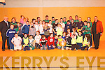 SOCCER: A huge crowd at Listowel Community Centre on Friday night for the Annual Soccer Blitz, Gardai v Feale Drive/OConnell Avenue. There to present the medals and trophies was Jimmy Deenihan TD..