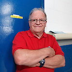 """George the Plumber"" up in his wee office in the main stand at Ibrox. RFC maintainence loyal."