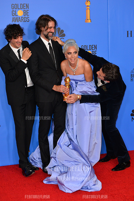 LOS ANGELES, CA. January 06, 2019: Mark Ronson, Lady Gaga, Andrew Wyatt &amp; Anthony Rossomando at the 2019 Golden Globe Awards at the Beverly Hilton Hotel.<br /> Picture: Paul Smith/Featureflash