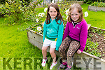 Orna and Cliona Nolan enjoying the new flower garden in the Shannow Family Resource Centre in Abbeydorney on Monday.