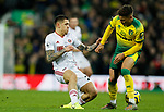 Muhamed Besic of Sheffield United tackles Ben Godfrey of Norwich City during the Premier League match at Carrow Road, Norwich. Picture date: 8th December 2019. Picture credit should read: James Wilson/Sportimage