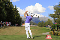 Matthew Fitzpatrick (ENG) tees off the 18th tee during Sunday's Final Round 4 of the 2018 Omega European Masters, held at the Golf Club Crans-Sur-Sierre, Crans Montana, Switzerland. 9th September 2018.<br /> Picture: Eoin Clarke | Golffile<br /> <br /> <br /> All photos usage must carry mandatory copyright credit (© Golffile | Eoin Clarke)