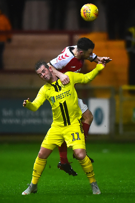 Burton Albion's David Templeton competes with Fleetwood Town's Lewis Coyle<br /> <br /> Photographer Richard Martin-Roberts/CameraSport<br /> <br /> The EFL Sky Bet League One - Saturday 15th December 2018 - Fleetwood Town v Burton Albion - Highbury Stadium - Fleetwood<br /> <br /> World Copyright © 2018 CameraSport. All rights reserved. 43 Linden Ave. Countesthorpe. Leicester. England. LE8 5PG - Tel: +44 (0) 116 277 4147 - admin@camerasport.com - www.camerasport.com