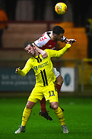 Burton Albion's David Templeton competes with Fleetwood Town's Lewis Coyle<br /> <br /> Photographer Richard Martin-Roberts/CameraSport<br /> <br /> The EFL Sky Bet League One - Saturday 15th December 2018 - Fleetwood Town v Burton Albion - Highbury Stadium - Fleetwood<br /> <br /> World Copyright &not;&copy; 2018 CameraSport. All rights reserved. 43 Linden Ave. Countesthorpe. Leicester. England. LE8 5PG - Tel: +44 (0) 116 277 4147 - admin@camerasport.com - www.camerasport.com