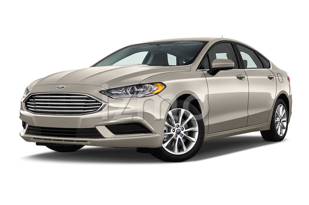 Stock pictures of low aggressive front three quarter view of 2017 Ford Fusion SE-FWD 4 Door Sedan Low Aggressive