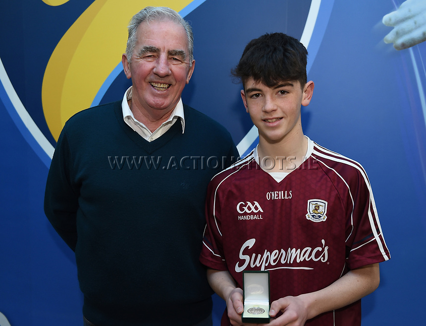 19/03/2018; 40x20 All Ireland Juvenile Championships Finals 2018; Kingscourt, Co Cavan;<br /> Paul Kearns with his grandfather Morgan<br /> Photo Credit: actionshots.ie/Tommy Grealy