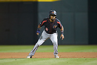 Luis Arraez (9) of the Rochester Red Wings takes his lead off of first base against the Charlotte Knights at BB&T BallPark on May 14, 2019 in Charlotte, North Carolina. The Knights defeated the Red Wings 13-7. (Brian Westerholt/Four Seam Images)