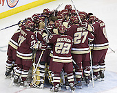 The Boston College Eagles huddle around Cory Schneider before the game. The Boston College Eagles defeated the University of Wisconsin Badgers 3-0 on Friday, October 27, 2006, at the Kohl Center in Madison, Wisconsin in their first meeting since the 2006 Frozen Four Final which Wisconsin won 2-1 to take the national championship.<br />