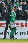 13.04.2019, Weserstadion, Bremen, GER, 1.FBL, Werder Bremen vs SC Freiburg<br /> <br /> DFL REGULATIONS PROHIBIT ANY USE OF PHOTOGRAPHS AS IMAGE SEQUENCES AND/OR QUASI-VIDEO.<br /> <br /> im Bild / picture shows<br /> Jubel 2:0, Theodor Gebre Selassie (Werder Bremen #23) bejubelt seinen Treffer zum 2:0, <br /> <br /> Foto &copy; nordphoto / Ewert