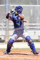 New York Mets minor league catcher Albert Cordero #50 in the field during a spring training game vs the St. Louis Cardinals at the Roger Dean Complex in Jupiter, Florida;  March 24, 2011.  Photo By Mike Janes/Four Seam Images