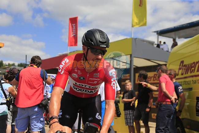 Adam Hansen (AUS) Lotto-Soudal at sign on in Mondorf-les-Bains before the start of Stage 4 of the 104th edition of the Tour de France 2017, running 207.5km from Mondorf-les-Bains, Luxembourg to Vittel, France. 4th July 2017.<br /> Picture: Eoin Clarke | Cyclefile<br /> <br /> <br /> All photos usage must carry mandatory copyright credit (&copy; Cyclefile | Eoin Clarke)
