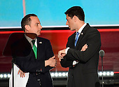 Reince Priebus, RNC Chairman, left, and Speaker of the United States House of Representatives Paul Ryan (Republican of Wisconsin), right, have a conversation on the podium at the 2016 Republican National Convention held at the Quicken Loans Arena in Cleveland, Ohio on Tuesday, July 19, 2016.<br /> Credit: Ron Sachs / CNP<br /> (RESTRICTION: NO New York or New Jersey Newspapers or newspapers within a 75 mile radius of New York City)