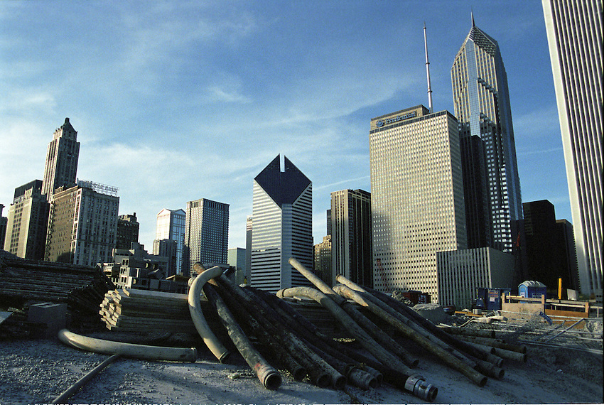 Downtown Chicago early stages of Millenium Park construction