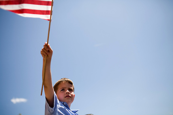 May 4, 2008. Marion, NC.. Just 2 days before the North Carolina primary, former president Bill Clinton campaigned across rural western North Carolina, stumping for his wife. Senator Hillary Clinton, in her drive for rural and working class votes.. Turner Cline, age 6, of Marion waves a flag at the former president.