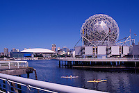 "Vancouver, BC, British Columbia, Canada - Telus World of Science at ""False Creek"",  BC Place Stadium and Downtown City beyond"