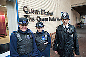 Metropolitan Police Constable with Community Support Officers, St Mary's Hospital, Paddington.