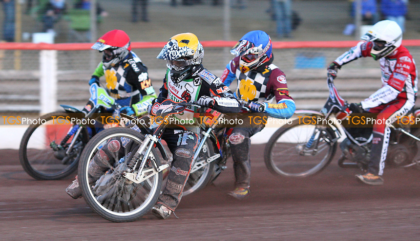 Heat 10: Ashley Morris (yellow), Barrie Evans (red), Shane Hazelden (blue) and Tom Perry (white) - Hackney Hawks vs Dudley Heathens, National League Speedway at the Arena Essex Raceway, Purfleet - 27/05/11 - MANDATORY CREDIT: Rob Newell/TGSPHOTO - Self billing applies where appropriate - 0845 094 6026 - contact@tgsphoto.co.uk - NO UNPAID USE.