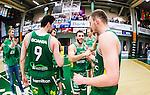 S&ouml;dert&auml;lje 2015-04-10 Basket SM-Semifinal 5 S&ouml;dert&auml;lje Kings - Sundsvall Dragons :  <br /> S&ouml;dert&auml;lje Kings Mike Joseph jublar med Darko Jukic och Toni Bizaca efter matchen mellan S&ouml;dert&auml;lje Kings och Sundsvall Dragons <br /> (Foto: Kenta J&ouml;nsson) Nyckelord:  S&ouml;dert&auml;lje Kings SBBK T&auml;ljehallen Sundsvall Dragons jubel gl&auml;dje lycka glad happy