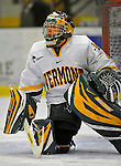19 January 2008: University of Vermont Catamounts' goaltender Jeff Hill, a Senior from Cranston, RI, warms up prior to a game against the Northeastern University Huskies at Gutterson Fieldhouse in Burlington, Vermont. The Catamounts defeated the Huskies 5-2 to close out their 2-game weekend series...Mandatory Photo Credit: Ed Wolfstein Photo