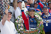 May 28th Indianapolis Speedway, Indiana, USA;  Takuma Sato, driver of the #26 Andretti Autosport Honda, celebrates following his victory of the 101st running of the Indianapolis 500 on May 28, 2017, at the Indianapolis Motor Speedway in Indianapolis, Indiana.
