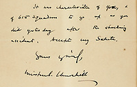 BNPS.co.uk (01202 558833)<br /> Pic: Sotheby's/BNPS<br /> <br /> A letter by Sir Winston Churchill in which he commended the bravery of an RAF pilot in the wake of the Farnborough Air Show disaster has sold for over £8,000.<br /> <br /> The message praised Squadron Leader Neville Duke for his stoicism in taking to the skies hours after a catastrophic crash killed 31 people in 1952.<br /> <br /> One of those who died was his close friend John Derry who had been flying a prototype de Havilland DH aircraft which disintegrated in mid-air and crashed into the crowd.<br /> <br /> Despite the tragedy the air show was allowed to continue and Sqn Ldr Duke took to the skies a short time later in a supersonic prototype jet.