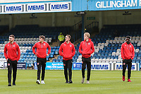Fleetwood Town players survey the pitch ahead of the Sky Bet League 1 match between Gillingham and Fleetwood Town at the MEMS Priestfield Stadium, Gillingham, England on 27 January 2018. Photo by David Horn.
