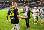 Solna 2015-08-10 Fotboll Allsvenskan AIK - Djurg&aring;rdens IF :  <br /> AIK:s ordf&ouml;rande Johan Segui kramar om Jos Hooiveld efter matchen mellan AIK och Djurg&aring;rdens IF <br /> (Foto: Kenta J&ouml;nsson) Nyckelord:  AIK Gnaget Friends Arena Allsvenskan Djurg&aring;rden DIF jubel gl&auml;dje lycka glad happy glad gl&auml;dje lycka leende ler le