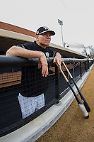 Wake Forest Demon Deacons head coach Tom Walter (16) watches the UNCG Spartans take batting practice at David F. Couch Ballpark on February 21, 2017 in  Winston-Salem, North Carolina.  The Demon Deacons defeated the Spartans 15-8.  (Brian Westerholt/Four Seam Images)