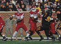 NWA Media/Michael Woods --11/28/2014-- w @NWAMICHAELW...University of Arkansas quarterback Brandon Allen drops back to pass in the 2nd quarter of Friday afternoons game against Missouri at Faurot Field in Columbia Missouri.
