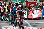 Pierre Latour (FRA) AG2R La Mondiale leads the main favourites across the finish line at the end of Stage 6 of La Vuelta 2019 running 198.9km from Mora de Rubielos to Ares del Maestrat, Spain. 29th August 2019.<br /> Picture: Colin Flockton | Cyclefile<br /> <br /> All photos usage must carry mandatory copyright credit (© Cyclefile | Colin Flockton)