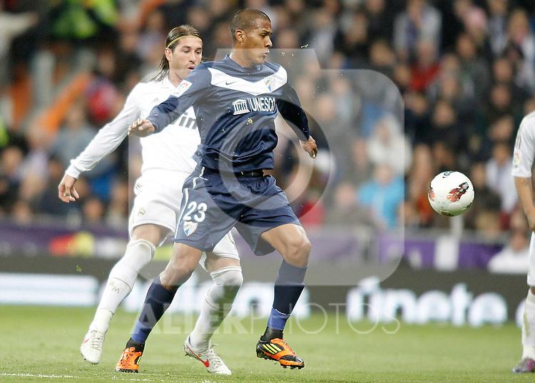 Real Madrid's Sergio Ramos against Malaga's Jose Salomon Rondon during La Liga Match. March 18, 2012. (ALTERPHOTOS/Alvaro Hernandez)
