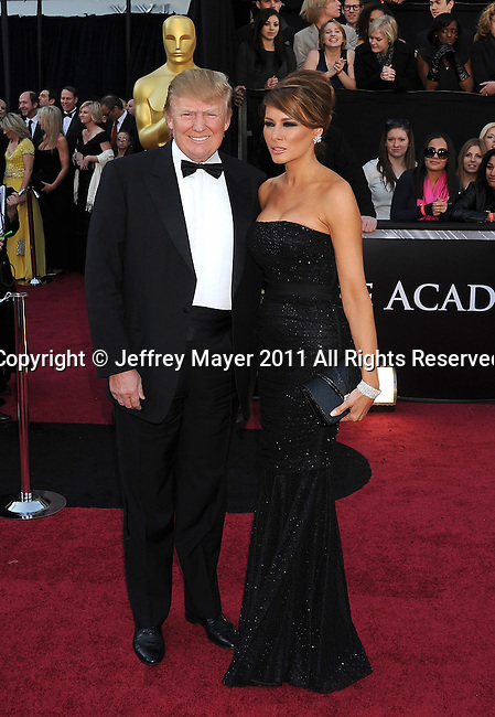 HOLLYWOOD, CA - FEBRUARY 27: Donald Trump and wife Melania Trump arrive at the 83rd Annual Academy Awards held at the Kodak Theatre on February 27, 2011 in Hollywood, California.