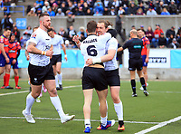 TORONTO, ON - MAY 06:  Andrew Dixon #11 of Toronto Wolfpack is congratulated by Blake Wallace #6 after scoring a try during the first half of a Kingstone Press League 1 match against Oxford RLFC at Lamport Stadium on May 6, 2017 in Toronto, Canada.  (Photo by Vaughn Ridley/SWpix.com)