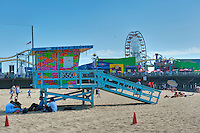 Santa Monica, CA, Pacific Park Pier, Lifeguard, Tower, Socal Beach, Lifeguard Stations, CA, Geometric, shapes, Lifeguard Towers,  Summer of Color exhibit, The flower, beauty, core design, elements, environment, symbol of joy, universal, youth, Seaside City, South Bay, Southern California