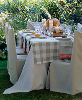 An outdoor table laid with an autumn themed centrepiece