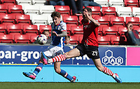 Blackburn Rovers' Connor Mahoney in action during todays match with Barnsley's Gethin Jones<br /> <br /> Photographer Rachel Holborn/CameraSport<br /> <br /> The EFL Sky Bet Championship - Blackburn Rovers v Barnsley - Saturday 8th April 2017 - Ewood Park - Blackburn<br /> <br /> World Copyright &copy; 2017 CameraSport. All rights reserved. 43 Linden Ave. Countesthorpe. Leicester. England. LE8 5PG - Tel: +44 (0) 116 277 4147 - admin@camerasport.com - www.camerasport.com