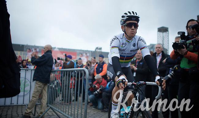 World Champion (and 1 of the race favourites) Michal Kwiatkowski (POL/Ettix-Quickstep) before the start<br /> <br /> 101th Liège-Bastogne-Liège 2015