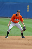 August 18, 2005:  Shortstop Brandon Fahey of the Bowie BaySox during a game at Metro Bank Park in Harrisburg, PA.  Bowie is the Eastern League Double-A affiliate of the Baltimore Orioles.  Photo by:  Mike Janes/Four Seam Images