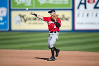Vancouver Canadians second baseman Nick Podkul (6) throws to first base during a Northwest League game against the Spokane Indians at Avista Stadium on September 2, 2018 in Spokane, Washington. The Spokane Indians defeated the Vancouver Canadians by a score of 3-1. (Zachary Lucy/Four Seam Images)