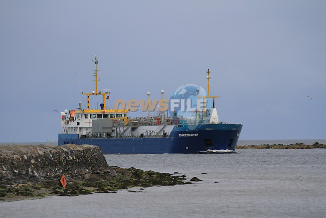 MV Tresher 4750 Tonnes Gas Tanker arriving at the Flo Gas terminal in Drogheda Port with 1300MTS of Gas..This vessel is the largest Gas tanker to visit the Port with a length of 100m and a beam of 11m built in 2006 and commisioned in 2007 and operated by Chemgas of Holland..Picture Fran Caffrey/www.newsfile.ie.