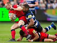 Worcester Warriors' Chris Pennell is tackled by Bath Rugby's Taulupe Faletau<br /> <br /> Photographer Bob Bradford/CameraSport<br /> <br /> Aviva Premiership - Bath Rugby v Worcester Warriors - Saturday 7th October 2017 - The Recreation Ground - Bath<br /> <br /> World Copyright &copy; 2017 CameraSport. All rights reserved. 43 Linden Ave. Countesthorpe. Leicester. England. LE8 5PG - Tel: +44 (0) 116 277 4147 - admin@camerasport.com - www.camerasport.com